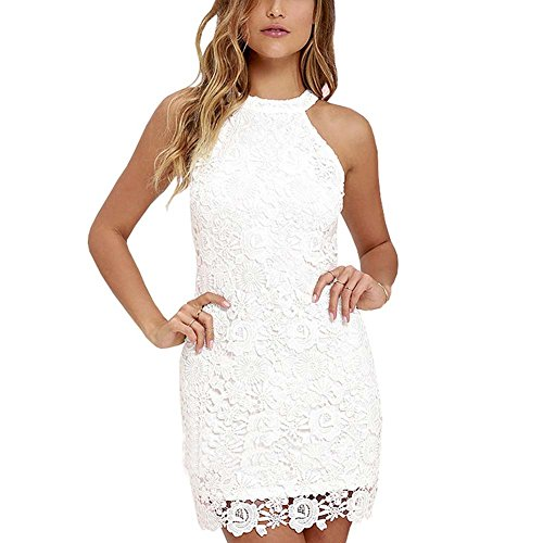 Fedi Apparel Women's Halter Neck Wedding Dress Midi Lace Party Cocktail Dress (Halter White Apparel)
