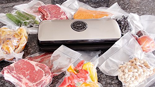 Smarssen Automatic Food Vacuum Sealer For Moist / Dry / Sous Vide, 2 Modes, Includes Sealer, Bags, Rolls, and Wine Stopper, Best Home Use Food Saver (Small)