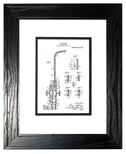 - Welding-Torch Patent Art White Matte Print in a Black Pine Wood Frame with a Double Mat (18