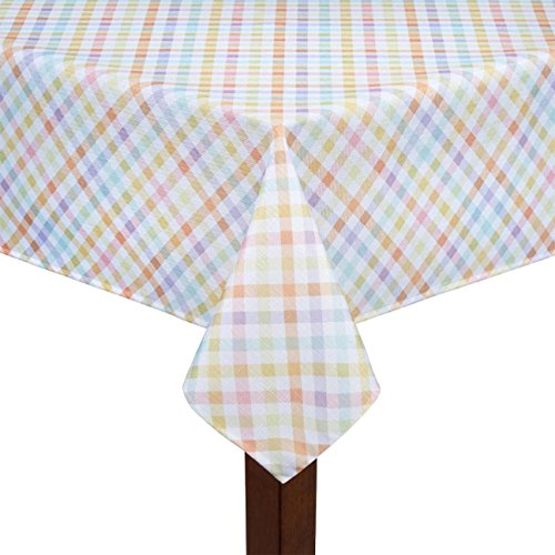 Spring Pastel Gingham Easter Checkered Fabric Tablecloth (60