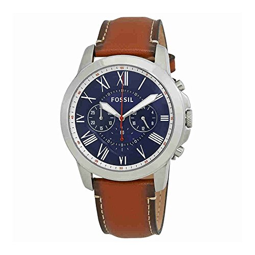 Fossil Men's Grant Quartz Stainless Steel and Leather Chronograph Watch, Color: Silver-Tone, Brown (Model: FS5210)