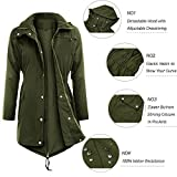 Uniboutique Raincoats Waterproof Lightweight Rain Jacket Active Outdoor Hooded Women's Trench Coats,Army Green,Large
