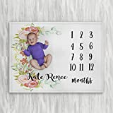 Personalized Month Milestone Baby Blanket - White Floral Frame - Frame - 30 X 40 - Plush Fleece