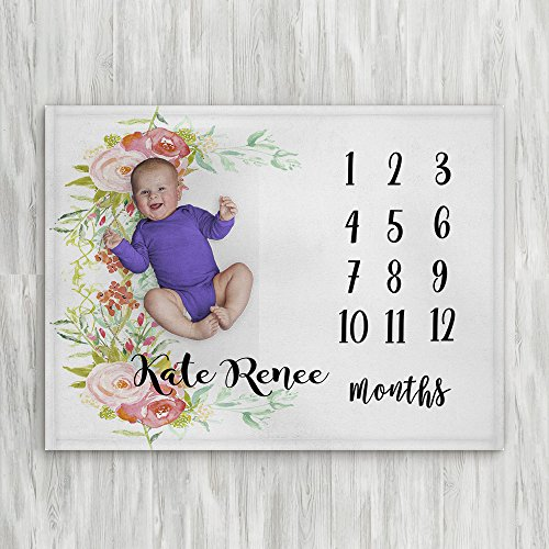 Personalized Month Milestone Baby Blankets | White Floral Frame | Frame 30 X 40 The Navy Knot Plush Minky Fleece Newborn Girl Boy Gifts Baby Shower Monthly Weekly Tracker Photography Pictures ()