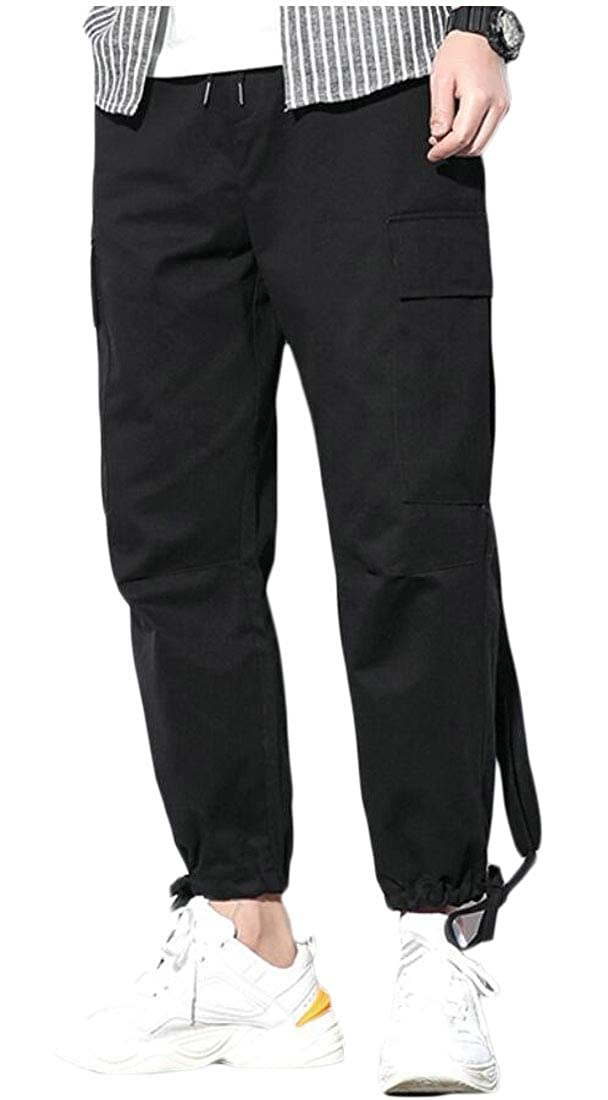 BYWX Men Drawstring Loose Pockets Solid Casual Jogging Cargo Pants Trousers