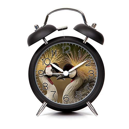 GIRLSIGHT Alarm Clock for Kids Child Retro Silent Pointer Alarm Clock Strong Bedside Tables Cute Loud Alarm Light House Decorations 004.2 Grey and Black Birds(Black)