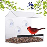 Cheap Window Bird Feeder – Acrylic Clear Bird Feeders – Bird Safe Scratch Resistant and Easy to Clean – Large Dimensions for Optimal Bird Admiring – Watch Hummingbirds, Cardinals and More