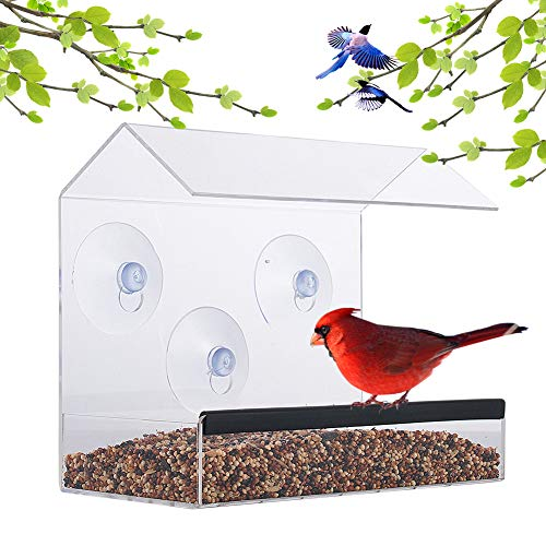 Window Bird Feeder – Acrylic Clear Bird Feeders – Bird Safe Scratch Resistant and Easy to Clean – Large Dimensions for Optimal Bird Admiring - Watch Hummingbirds, Cardinals and More ()