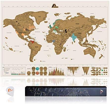 Amazy Mapamundi para rascar XXL (Blanco  82 x 58 cm) – Mapa del mundo para rascar países y decorar paredes: Amazon.es: Hogar