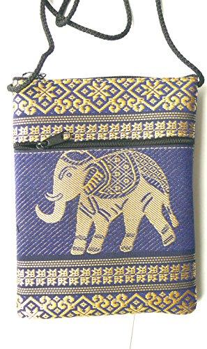 Elefante passaporto Borsa a tracolla–Navy Blu Cotone Con 2tasche