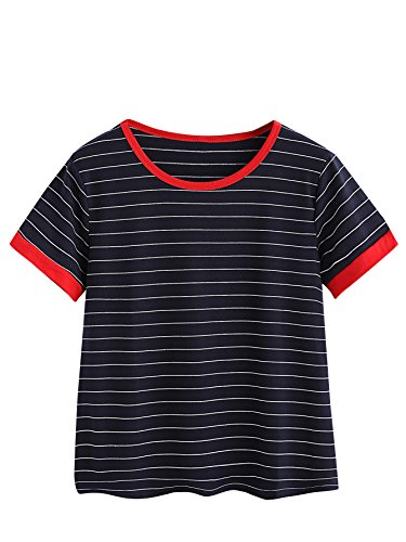Cotton Ringer T-shirt (MakeMeChic Women's Casual Loose Striped Short Sleeve T-shirt Tee Top Navy M)