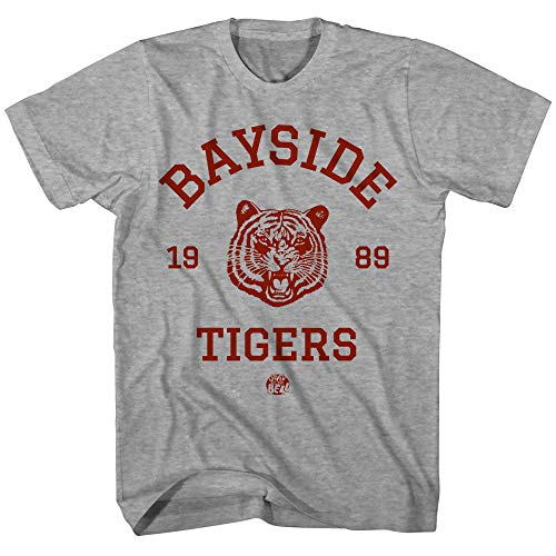 (Saved By The Bell Shirt - Mens Bayside Tigers Vintage T-Shirt (Heather Grey, Small))