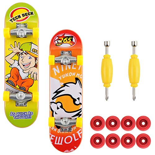 Oruuum 2 Set of Finger Skateboard Toy with 4 Spare Tires and 1 Screwdriver Desktop Game Soup Toys
