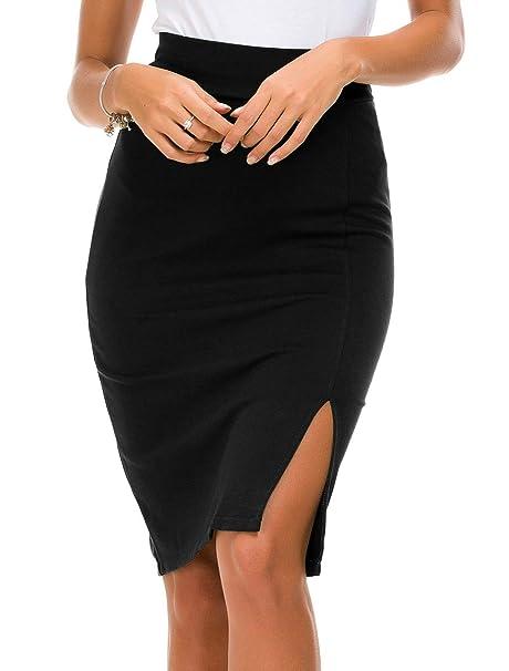4e1e4848b Urban CoCo Women's Elastic Waist Side Slit Hem Bodycon Pencil Skirt (S,  Black)