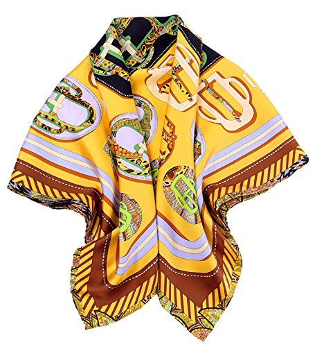 Grace Scarves 100% Silk Scarf With Hand Rolled Edges, Large, Belt Buckles, Cantaloupe (Buckle Silk)