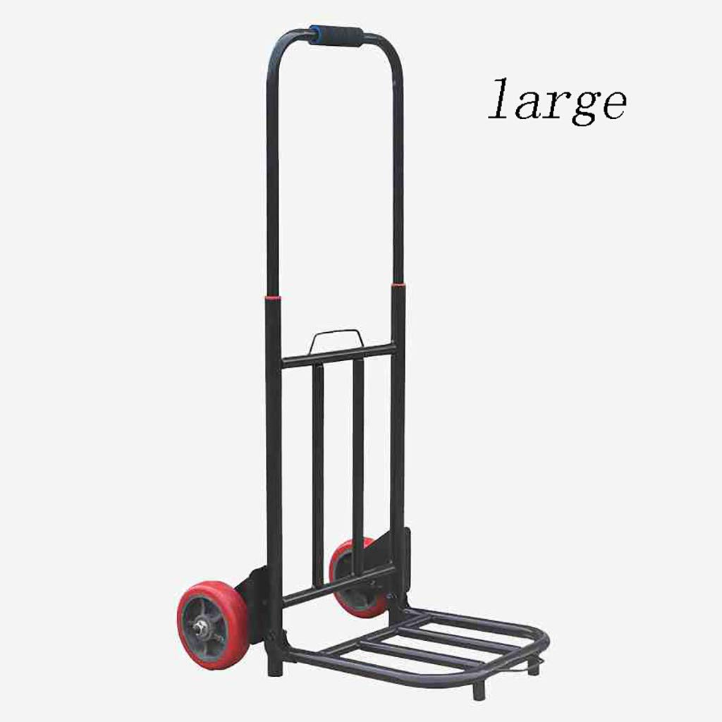 WZL Trolley Folding Trolley//Sack Industrial Cart Size : L Large 60kg // Small 25kg Load Suitable for Indoor and Outdoor Travel Shopping Heavy-Duty Steel Frame