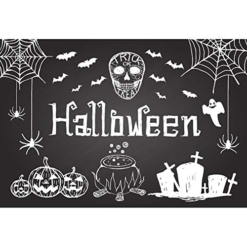 Laeacco Halloween Background 10x8ft Abstract Chalk Drawing Photography Backdrop Trick or Treat Cartoon White Grimace Pumpkin Bat Spider Web Graveyard Cross Ghost Zombie Party Poster Photo Prop Decor