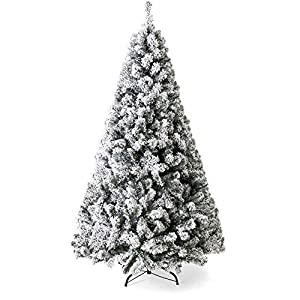 Best Choice Products 7.5ft Premium Snow Flocked Hinged Artificial Christmas Pine Tree Holiday Decor w/Metal Stand 106