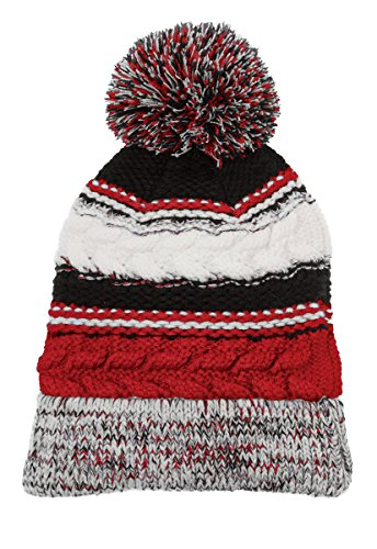 Team Colors Knit Beanie (Dri-Wick Cable Knit Winter Pom Pom Beanie Hat In Team Colors (True Red/Black/WhiteTrue Red/Black/White))