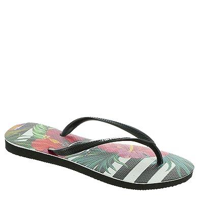 28f4b5765 Havaianas Women's Slim Tropical Floral Flip Flops, Black/Black/Imperial  Palace, 7