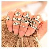 QTMY Vintage 10 Pcs Ring Set for Girls Women (Sliver)