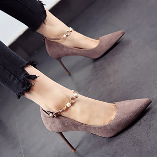 A 9Cm Suede With Ladies Work Single Khaki Diamond MDRW Point Leisure Buckle Spring 38 Elegant Shoes Shoes Heels Fine High Lady 0zw0qxf7O
