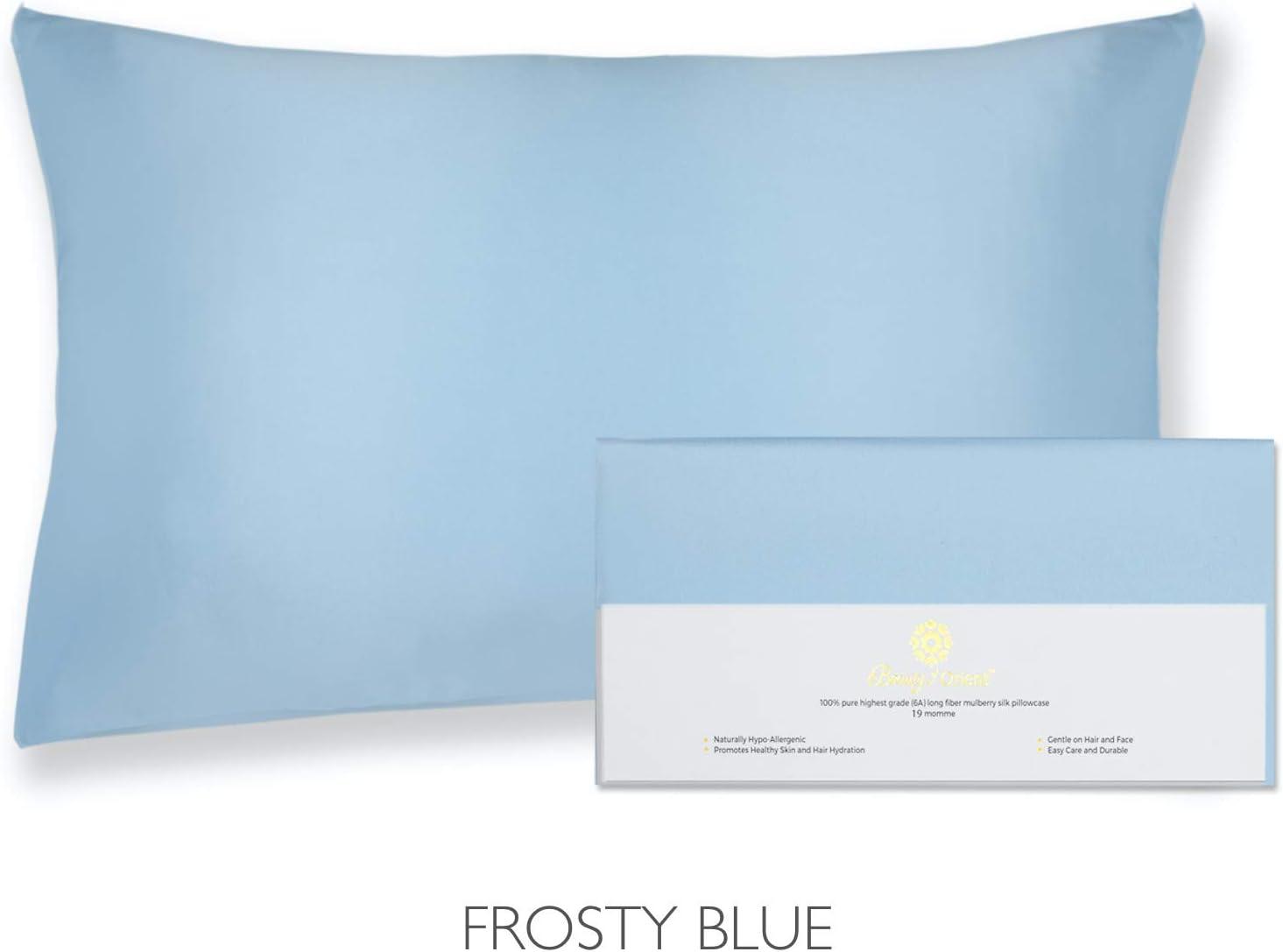 "BEAUTY OF ORIENT - 100% Pure Mulberry Silk Pillowcase for Hair and Skin, 19 Momme Both Sides, Hidden Zipper, Natural Hypoallergenic Silk Pillow Case, Best Sleep (1pc Standard - 20"" x 26"", Frosty Blue)"