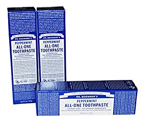 Dr Bronner's Peppermint All-One Toothpaste Pack of 3