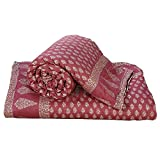 Little India Rajasthani Gold Print Cotton Single Bed Quilt Pair 123