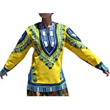 RaanPahMuang Open Collar Long Sleeve African Dashiki Print Dance To Afrika Shirt, Small, Bright Yellow