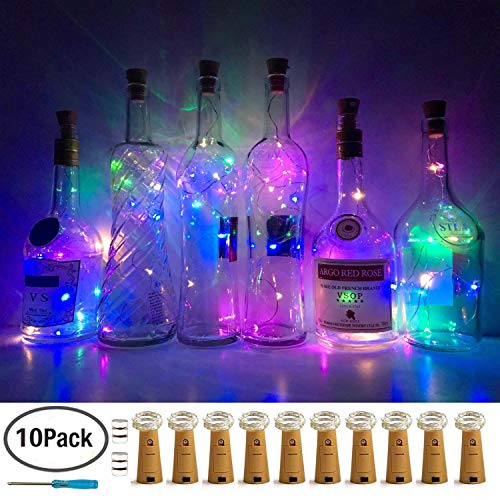 LoveNite Wine Bottle Lights with Cork, 10 Pack Battery Operated LED Cork Shape Silver Wire Colorful Fairy Mini String Lights for DIY, Party, Decor, Wedding(4 Colors-2 Kinds of Scheme)