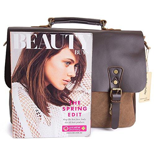 WalkingToSky 15,6 pulgadas cuero Vintage Messenger Bag para hombres y mujeres, lona de nuevo a la escuela Satchel Laptops Bag Coffee,Oil Leather