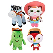 Aoli's Store 4pcs/Set Calico Sheriff Callie Pony Sparky Toby Deputy Peck Doll Plush Toy