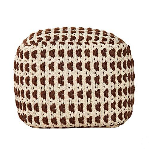MOTINI Moroccan Handmade Wool and Cotton Pouf Foot Stool Ottoman, Boho Cube Pouf for Living Room Bedroom, 18