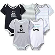 Luvable Friends Baby Infant Basic Bodysuit, 5 Pack, Little Man, 3M(0-3 Months)