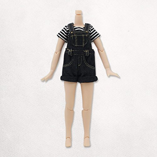 Original Doll Clohtes Outfit, Striped T-Shirt(Black) and Short Dungarees(Black or Blue), Doll Dress Up for 1/6 12inch Blythe Doll or ICY Doll- Fortune Days ()