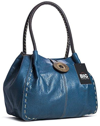 Big Handbag Shop - Bolso al hombro de sintético para mujer One Verde Azulado Azul