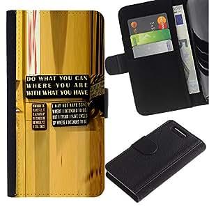 """Be-Star la tarjeta de Cr¨¦dito Slots PU Funda de cuero Monedero caso cubierta de piel Para Sony Xperia Z3 Compact / Z3 Mini (Not Z3) ( Abstracto amarillo Mensaje de madera del grano"""" )"""