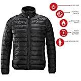 Redder Men Heated Jacket Lightweight Cotton Down Jacket Outwear with New Heating System 2017 Warm-keeping Auto-heated Winter Coat with USB Charged by Power Bank-Battery not Included