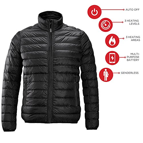 redder Men Heated Jacket Lightweight Cotton Down Jacket Outwear With New Heating System Auto-Heated-Battery Not (Heated Jacket Liner)