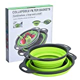 "Collapsible Colanders Set, Knifun Silicone Strainer Set-8"" and 9.5"" Filter Basket, Food-Grade Kitchen Strainer, Space-Saver Folding Strainer Colander, Dishwasher Safe (Green)"