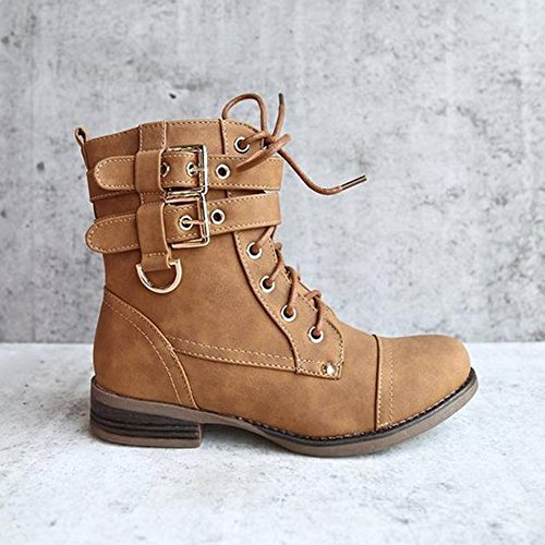 Ermonn Womens Military Combat Boots Lace up Double Buckle Strap Martin Ankle Booties
