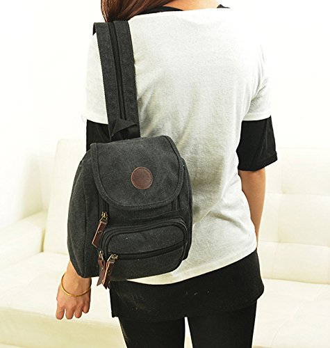 Bestbag shoulder Small Black backpack bag handbag canvas student rZr5Hqw