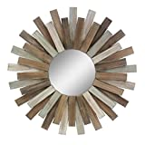 Stonebriar Large Round 32'' Wooden Sunburst Hanging Wall Mirror Attached Hanging Bracket, Decorative Rustic Decor The Living Room, Bathroom, Bedroom Entryway