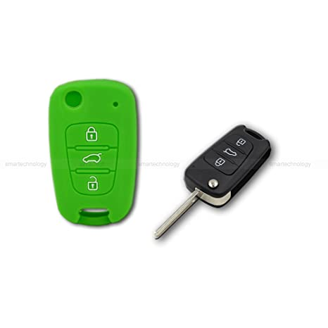 Caparazón carcasa (silicona) para protección concha mando llave 3 3 botones coche hyundai i10 i20 i30, ix20 ix35 Elantra Varios colores Verde