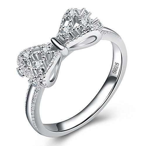 Vintage Women Bowknot Ring White Gold Plated Chritmas Birthday Gift for Women Accessories CZ Ring Size - Uk Groupon