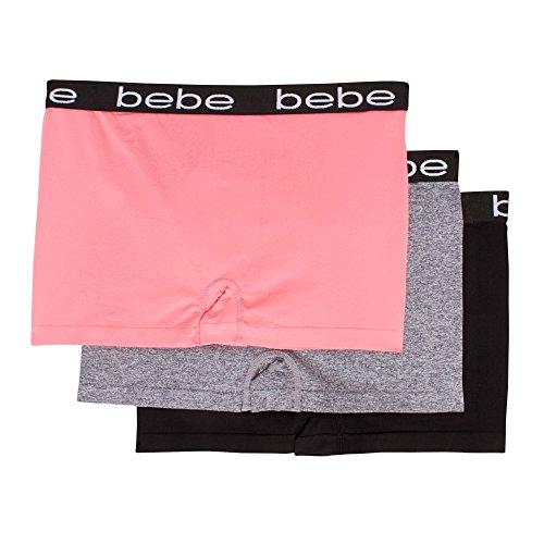 bebe Intimates Bebe Women's 3 Pack Seamless Underwear Boyshort Elastic Waistband Panties Coral Flush/Heather Grey/Black 1X Heather Flush