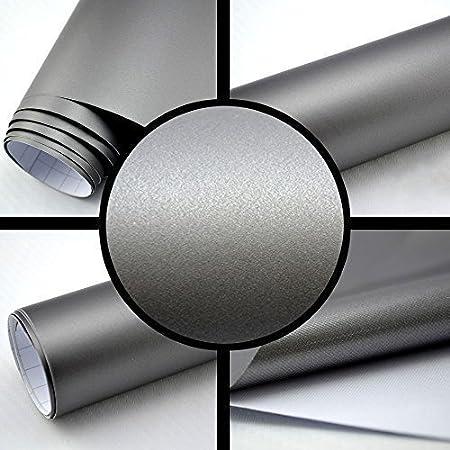 Autofolie Matt silber-grau BLASENFREI 0, 3m x 1, 52m mit Luftkanä le 3D Flex TipTopCarbon