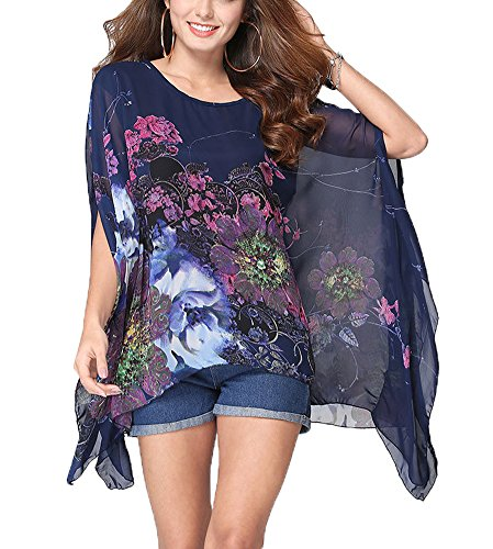- Qunsia Women's Chiffon Caftan Poncho Tunic Top Cover up Batwing Blouse
