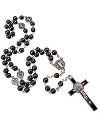 BLESSED CATHOLIC ROSARY NECKLACE Black Hematite Beads Saint St Benedict Medal & Cross Gift Box